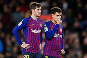 2nd February 2019, Camp Nou, Barcelona, Spain; La Liga football, Barcelona versus Valencia; Sergi Roberto of FC Barcelona and Philippe Coutinho of FC Barcelona watches the penalty kick taken for Lionel Messi of FC Barcelona