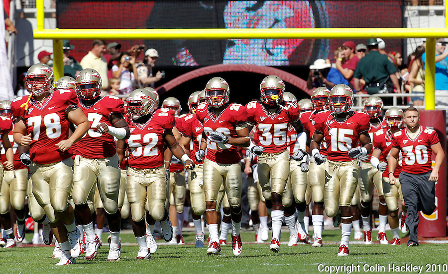 TALLAHASSEE, FL 10-FSU-BC 101610 FB10 CH-Florida State takes the field against Boston College Saturday at Doak Campbell Stadium in Tallahassee. .COLIN HACKLEY PHOTO