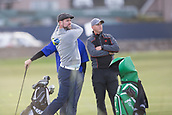 3rd October 2017, The Old Course, St Andrews, Scotland; Alfred Dunhill Links Championship, practice round; Westlife singer Brian McFadden drives off the tee on the second hole  during a practice round on the Old Course, St Andrews before the Alfred Dunhill Links Championship