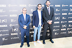 Newspaper Marca Director Juan Ignacio Gallardo (l), Basketball player Jose Manuel Calderon and President of Spanish Federation of Basketball Jorge Garbajosa (r) attends photocall previous to the first edition of Spanish Basketball Awards. July 25, 2019. (ALTERPHOTOS/Francis Gonzalez)
