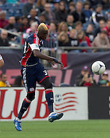 New England Revolution forward Saer Sene (39) passes the ball. In a Major League Soccer (MLS) match, the New England Revolution defeated Portland Timbers, 1-0, at Gillette Stadium on March 24, 2012
