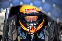 Oct. 26, 2012; Las Vegas, NV, USA: NHRA funny car driver Jeff Arend during qualifying for the Big O Tires Nationals at The Strip in Las Vegas. Mandatory Credit: Mark J. Rebilas-