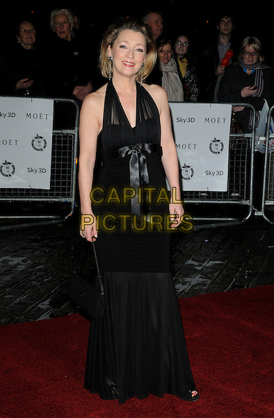LESLEY MANVILLE.London Critics' Circle Film Awards at BFI Southbank, London, England..February 10th 2011.ALFS full length black halterneck dress fishtail sheer  bow ribbon.CAP/CAN.©Can Nguyen/Capital Pictures.