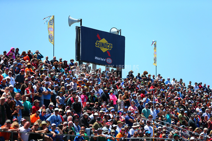 May 7, 2017; Commerce, GA, USA; NHRA fans in the sold out grandstands beneath a Sonoco Race Fuel sign during the Southern Nationals at Atlanta Dragway. Mandatory Credit: Mark J. Rebilas-USA TODAY Sports