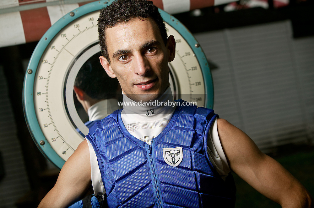 Jockey John Velazquez poses for the photographer at the race track in Saratoga Springs, NY, USA, 14 August 2006.