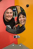 Maureen Pepper and Liz Martindale, of the Lydford Residents Association, at the newly refurbished playground on Lydford Estate, London W9, redesigned by the residents' association in collaboration with  Westminster City Council.