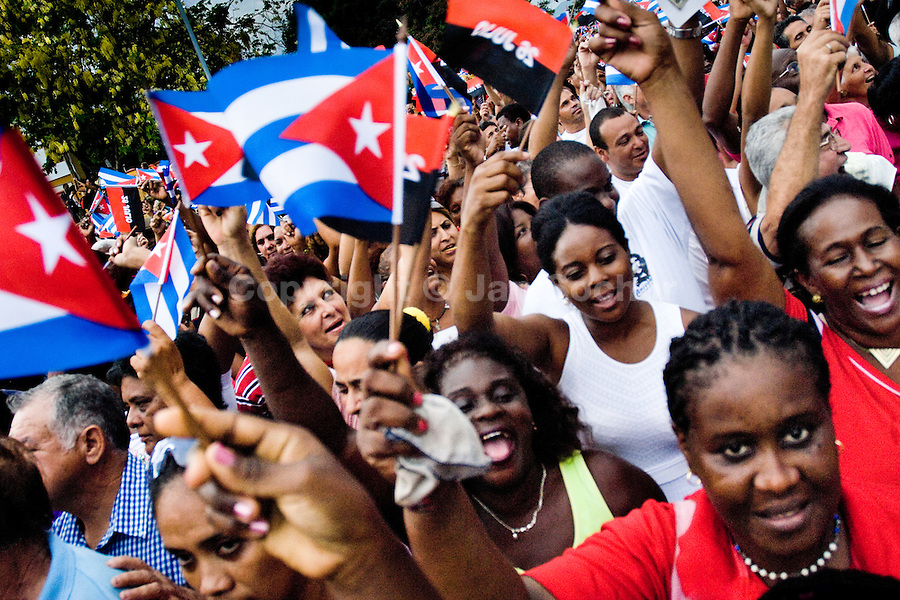 Hundreds of Cubans wave the national flags and express support for the Castro Brothers' regime during the annual celebration of the Cuban Revolution anniversary in Santiago de Cuba, Cuba, 26 July 2008. The Cuban revolution began when the poorly armed Cuban rebels, led by Fidel Castro, attacked the Moncada Barracks in Santiago de Cuba on 26 July 1953. The attack was easily defeated and most of the rebels were captured and later executed by the Batista regime. Although Fidel Castro had been sentenced to 15 years of prison, after less than two years he was released, he went to Mexico and in 1956, back in Cuba again, his guerilla group started a new rebellion.