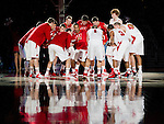 Wisconsin Badgers huddle prior to an NCAA  college basketball game against the Presbyterian Blue Hose Tuesday, November 20, 2012 in Madison, Wis. The Badgers won 88-43. (Photo by David Stluka)