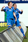 Hibs v St Johnstone.....30.04.11.Liam Craig celebrates his goal with Graham Gartland.Picture by Graeme Hart..Copyright Perthshire Picture Agency.Tel: 01738 623350  Mobile: 07990 594431