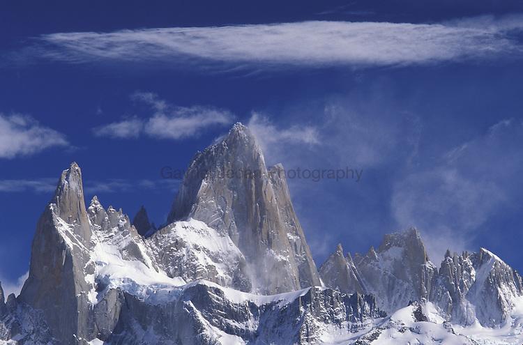 Patagonia Parque Nacional los Glaciares Clouds over Cerro Torre and Cerro Fitz Roy