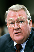 United States Attorney General Edwin Meese, III testifies before the US House Select Committee to Investigate Covert Arms Transactions with Iran / US Senate Select Committee on Secret Military Assistance to Iran and the Nicaraguan Opposition (Iran/Contra Committee) on Capitol Hill in Washington, DC on July 28, 1987.<br /> Credit: Arnie Sachs / CNP