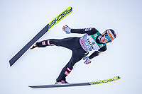 1st January 2020, Olympiaschanze, Garmisch Partenkirchen, Germany, FIS World cup Ski Jumping, 4-Hills competition; Clemens Leitner of Austria during his trial Jump for the Four Hills Tournament