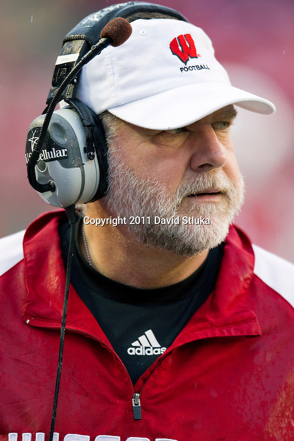 Wisconsin Badgers assistant coach Dave Huxtable looks on during an NCAA Big Ten Conference college football game against the Penn State Nittany Lions on November 26, 2011 in Madison, Wisconsin. The Badgers won 45-7. (Photo by David Stluka)