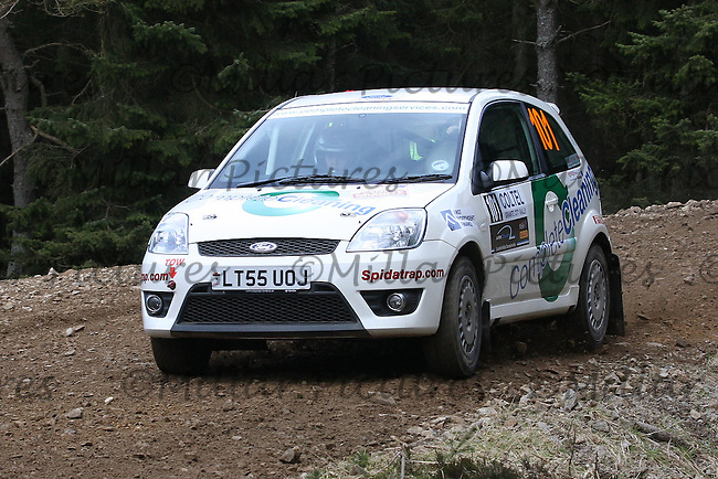 Caroline Carslaw - John Duke at Junction 2 of the Fred Olsen Renewables & Jones Brothers Fetteresso Special Stage 1 of the Coltel Granite City Rally 2013, Round 3 of the RAC MSA Scottish Rally Championship  sponsored by ARR Craib Transport Limited which was organised by Aberdeen & District Car Club and was based in Altens, Aberdeen on 20.4.13.