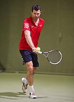 March 7, 2015, Netherlands, Hilversum, Tulip Tennis Center, NOVK,  Pieter van Houten vs Niels de Kok<br /> Photo: Tennisimages/Henk Koster