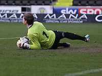 Graham Bowman saves in the St Mirren v Falkirk Clydesdale Bank Scottish Premier League Under 20 match played at St Mirren Park, Paisley on 30.4.13.