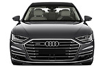 Car photography straight front view of a 2018 Audi A8 Base 4 Door Sedan