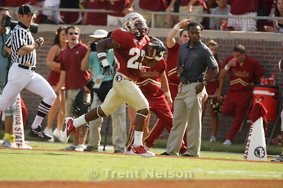 Trent Nelson  |  The Salt Lake Tribune.Florida State's Chris Thompson (right) celebrates his touchdown run in the second quarter, BYU vs. Florida State, college football Saturday, September 18, 2010 at Doak Campbell Stadium in Tallahassee, Florida.