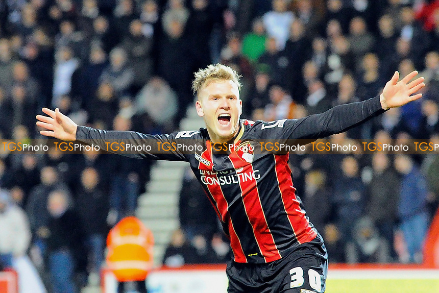 Matt Ritchie of AFC Bournemouth celebrates his goal - AFC Bournemouth vs Derby County - Sky Bet Championship Football at the Goldsands Stadium, Bournemouth, Dorset - 10/02/15 - MANDATORY CREDIT: Denis Murphy/TGSPHOTO - Self billing applies where appropriate - contact@tgsphoto.co.uk - NO UNPAID USE