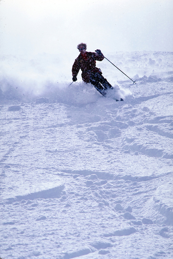 Backlighted snow skier cuts through deep, light powder on an open slope. Utah, Alta Ski Resort.