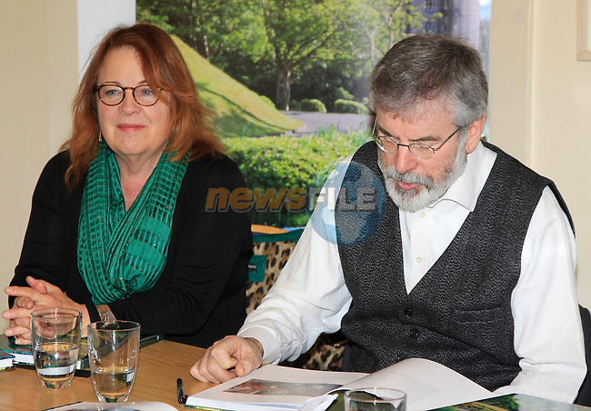 Gerry Adams reads a section during the book launch of Ireland, One Island, No Borders by Elizabeth Billups and Gerry Adams at the Drogheda Arts Centre on Friday 13th March 2015.<br /> Picture:  Thos Caffrey / www.newsfile.ie
