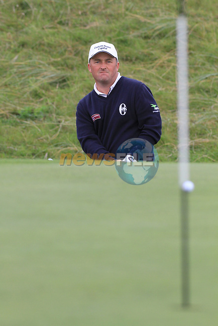 Day one of the Irish PGA championship at Seapoint Golf Club,.Damien McGrane playingonto the 18th..Picture Fran Caffrey/www.golffile.ie.