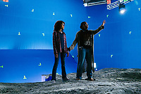A Wrinkle in Time (2018) <br /> Behind the scenes photo of Ava Duvernay &amp; Storm Reid<br /> *Filmstill - Editorial Use Only*<br /> CAP/MFS<br /> Image supplied by Capital Pictures