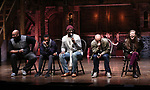"""James Monroe Iglehart, Tyler McKenzie, Carvens Lissaint, Jevon McFerrin, and Liza Ohman from the 'Hamilton' cast during a Q & A before The Rockefeller Foundation and The Gilder Lehrman Institute of American History sponsored High School student #EduHam matinee performance of """"Hamilton"""" at the Richard Rodgers Theatre on October 25, 2017 in New York City."""