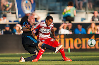 Conor Casey (6) of the Philadelphia Union collides with David Ferreira (10) of FC Dallas. The Philadelphia Union and FC Dallas played to a 2-2 tie during a Major League Soccer (MLS) match at PPL Park in Chester, PA, on June 29, 2013.