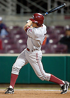 SANTA CLARA, CA - April 19, 2011: Danny Diekroeger of Stanford baseball gets his first hit for Stanford during Stanford's game against Santa Clara at Stephen Schott Stadium. Stanford won 10-3.