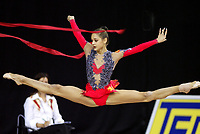 September 25, 2003 - Budapest, Hungary: IRINA TCHACHINA of Russia leaps with ribbon at 2003 Rhythmic Gymnastics World Championships.