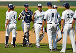 31 July 2007:  Vermont Lake Monsters celebrate their victory over the Hudson Valley Renegades at Historic Centennial Field in Burlington, Vermont. The Lake Monsters defeated the Renegades 4-3 to sweep the 3-game series...Mandatory Photo Credit: Ed Wolfstein Photo