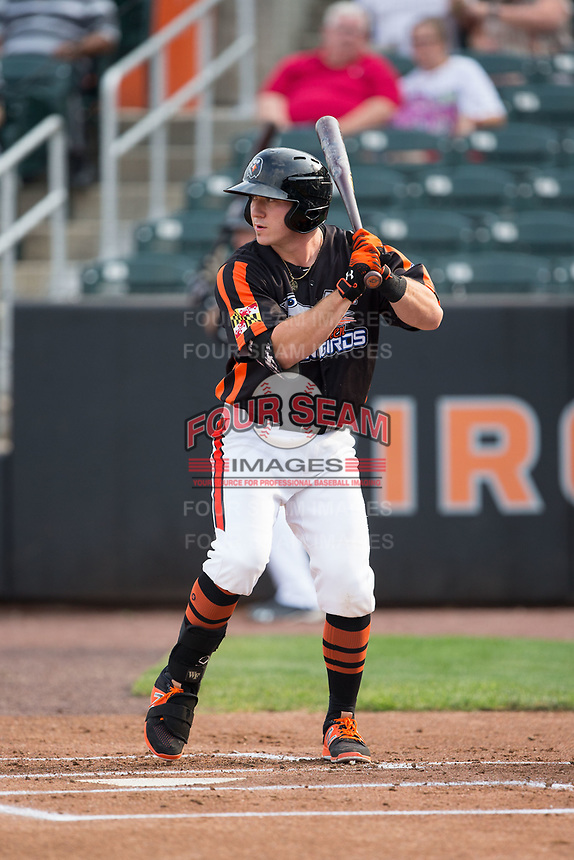 Ben Breazeale (39) of the Aberdeen IronBirds at bat against the Hudson Valley Renegades at Leidos Field at Ripken Stadium on July 27, 2017 in Aberdeen, Maryland.  The Renegades defeated the IronBirds 2-0 in game one of a double-header.  (Brian Westerholt/Four Seam Images)