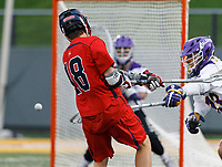 Tyler Shoults (#18) fires a shot as UAlbany Men's Lacrosse defeats Richmond 18-9 on May 12 at Casey Stadium in the NCAA tournament first round.
