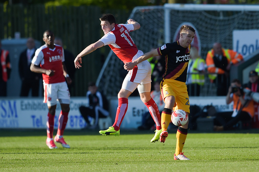 Fleetwood Town's Bobby Grant battles with Bradford City's Anthony McMahon<br /> <br /> Photographer Terry Donnelly/CameraSport<br /> <br /> The EFL Sky Bet League One Play-Off Second Leg - Fleetwood Town v Bradford City - Sunday 7th May 2017 - Highbury Stadium - Fleetwood<br /> <br /> World Copyright &copy; 2017 CameraSport. All rights reserved. 43 Linden Ave. Countesthorpe. Leicester. England. LE8 5PG - Tel: +44 (0) 116 277 4147 - admin@camerasport.com - www.camerasport.com
