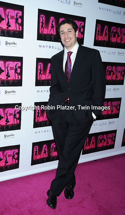 """actor Jason Biggs arriving for the Broadway Opening night of """" La Cage Aux Folles"""" on April 18, 2010 at The Longacre Theatre in New York City."""