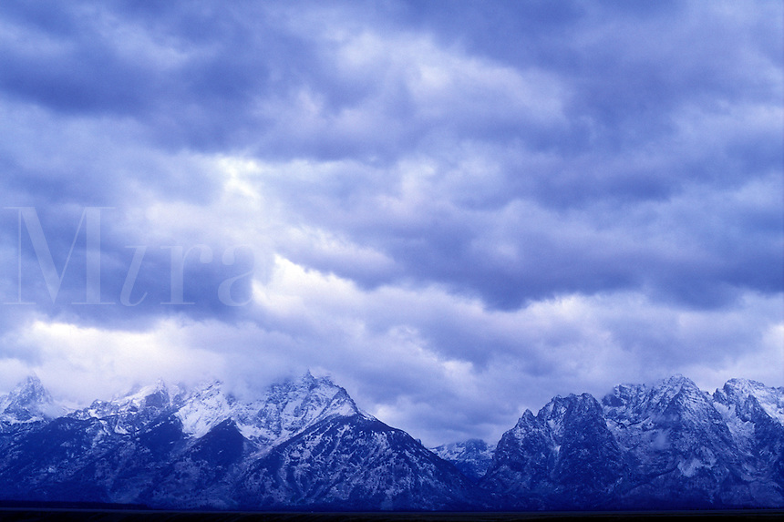 USA, Wyoming, Grand Teton National Park, Storm clouds over the Grand Teton mountain range