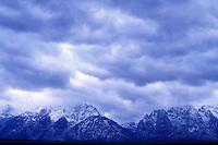 USA, Wyoming, Grand Teton National Park, Storm clouds over the Grand Teton mountain range