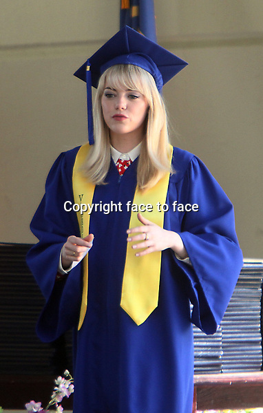 NEW YORK, NY - JUNE 1: Emma Stone as Gwen Stacy shooting graduation day scene on the set of The Amazing Spider-Man 2 in New York City. June 1, 2103. <br /> Credit: MediaPunch/face to face<br /> - Germany, Austria, Switzerland, Eastern Europe, Australia, UK, USA, Taiwan, Singapore, China, Malaysia, Thailand, Sweden, Estonia, Latvia and Lithuania rights only -
