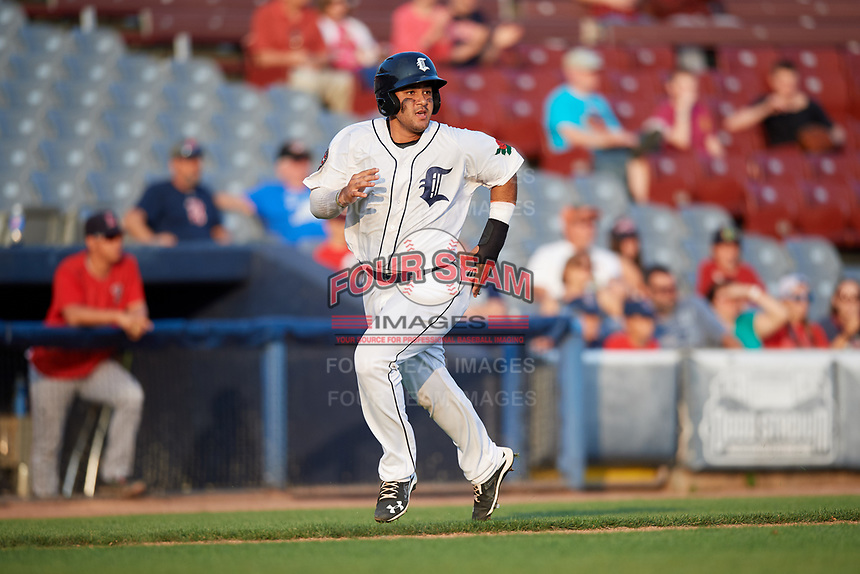 Connecticut Tigers designated hitter Gresuan Silverio (13) runs home during a game against the Lowell Spinners on August 26, 2018 at Dodd Stadium in Norwich, Connecticut.  Connecticut defeated Lowell 11-3.  (Mike Janes/Four Seam Images)