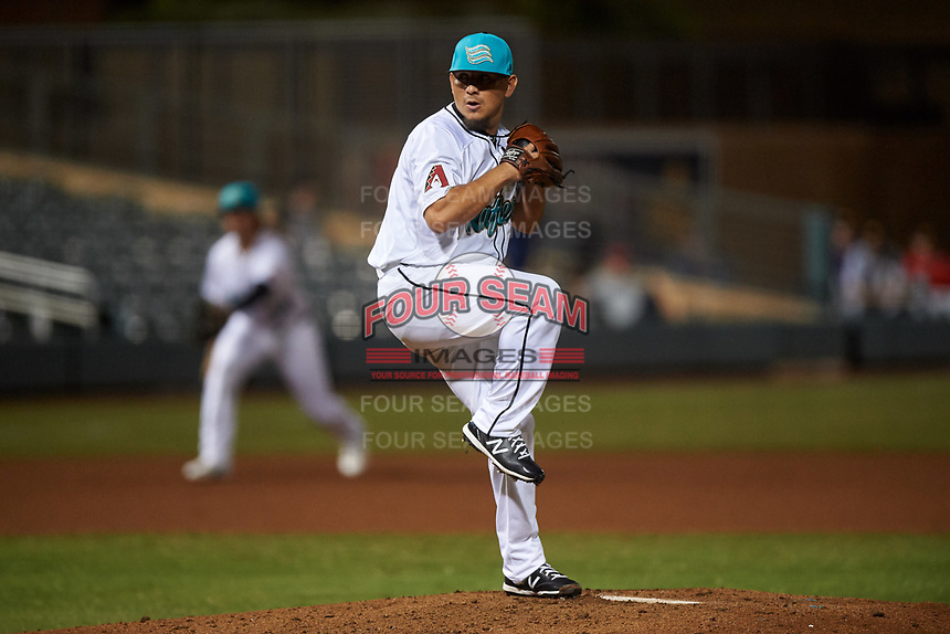 Salt River Rafters relief pitcher Miguel Aguilar (31), of the Arizona Diamondbacks organization, during an Arizona Fall League game against the Mesa Solar Sox on September 27, 2019 at Salt River Fields at Talking Stick in Scottsdale, Arizona. Salt River defeated Mesa 6-1. (Zachary Lucy/Four Seam Images)