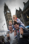 © Joel Goodman - 07973 332324 . 31 August 2013 . Rochdale , UK . Andy Morris with son Freddie Morris (four) and Luke Murray with daughter Erin Murray (four) (all from Whitworth, all correct) in front of the town hall . The Rochdale Feel Good Festival . Photo credit : Joel Goodman