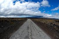 Access road to Mauna Loa volcano 13679' Mauna Kea in the distance, the Big Island of Hawaii