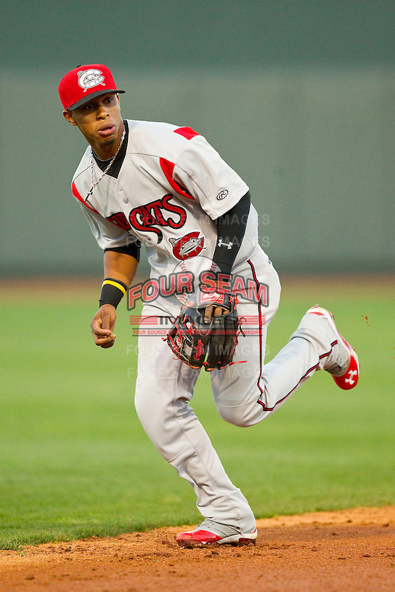 Carolina Mudcats shortstop Francisco Lindor (12) on defense against the Winston-Salem Dash at BB&T Ballpark on April 13, 2013 in Winston-Salem, North Carolina.  The Dash defeated the Mudcats 4-1.  (Brian Westerholt/Four Seam Images)