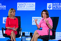 Washington, DC - May 23, 2017: U.S. Rep. Nancy Pelosi participates in the 2017 Fiscal Summit, hosted by the Peter G. Peterson Foundation, moderated by CNN Correspondent Dana Bash at the Andrew Mellon W. Mellon Auditorium in the District of Columbia May 23, 2017.  (Photo by Don Baxter/Media Images International)