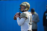 Wake Forest Demon Deacons quarterback John Wolford (10) warms up prior to the Belk Bowl against the Texas A&M Aggies at Bank of America Stadium on December 29, 2017 in Charlotte, North Carolina.  The Demon Deacons defeated the Aggies 55-52.  (Brian Westerholt/Sports On Film)