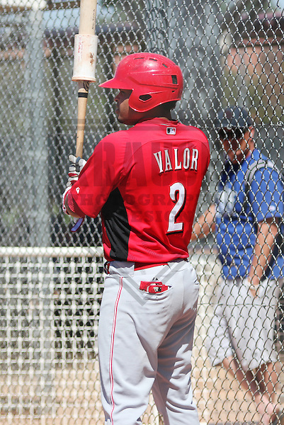 MESA - March 2013: Humberto Valor (2)  of the Cincinnati Reds during a Spring Training game against the Chicago Cubs on March 24, 2013 at Fitch Park in Mesa, Arizona.  (Photo by Brad Krause). .