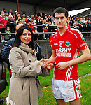 Sinead Stagg from Ulster Bank Mayo presenting the man of the match award to Garrymore's Caolan Crowe ??...Pic Conor McKeown.