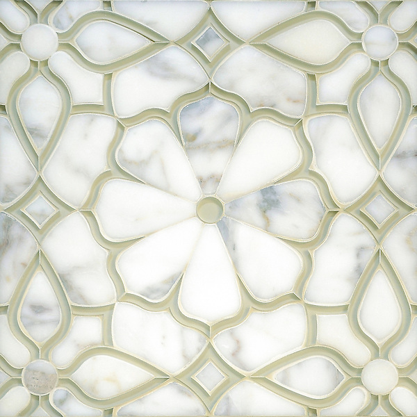 Estelle, a handmade mosaic shown in Venetian honed Calacatta Gold and Weathered White glass. Designed by Sara Baldwin Designs for New Ravenna.<br />