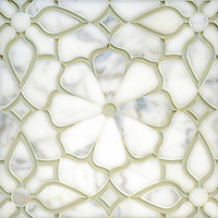 Estelle, a handmade mosaic shown in Venetian honed Calacatta Gold and Weathered White glass. Designed by Sara Baldwin for New Ravenna.<br />